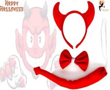 3Pcs RED DEVIL SET Halloween Tail Horns Bow Office Home School Play Fancy Dress