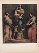 """1939 Vintage """"MADONNA of the HARPIES"""" by ANDREA SARTO Color Art Plate Lithograph"""