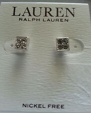 "EARRINGS RALPH LAUREN NEW WOMEN'S SILVER 1/4"" CRYSTAL CZ CUBIC ZIRCONIA STUDS"