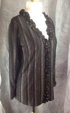 BN JacquelineDesignsUK black/gold stripe quality Jersey blouse size 8/10 petite