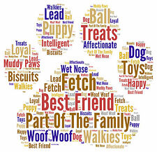 Personalised Word Art Family Pet Dog Paw Print Birthday Christmas Thankyou Gift