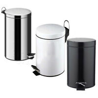 3 LITRE SMALL S STEEL PEDAL BIN BATHROOM KITCHEN TOILET RUBBISH IN WHITE / BLACK