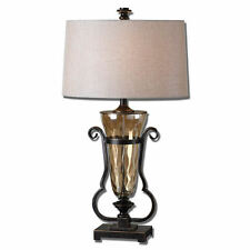 """Aemiliana Amber Glass & Oil Rubbed Bronzed Metal Table Lamp 33""""H Uttermost 26594"""