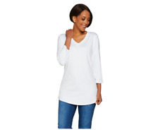 Isaac Mizrahi Live! Essentials 3/4-Sleeve V-Neck Knit Top, Bright White, Large