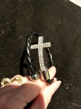 Women Christian Sideways Cross Religious Spiral Braided Bracelet~ RHINESTONES