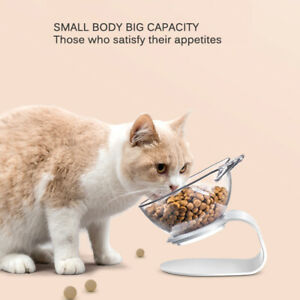 15°Tilt Design Cat Double Bowls with Raised Stand Pets Food Water Bowl Feeder
