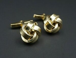 "Vintage Solid 8k Yellow Gold 3D Knot Ribbon Cufflinks 1"" Free Shipping M1131"