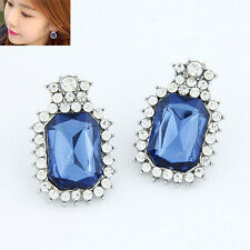 RF Rectangular BLUE Big Gemstone Crystal  Stud Earrings