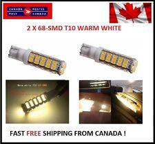 2PCS Super Bright WARM White T10 68-SMD LED W5W 194 921 168 Reverse Backup RV