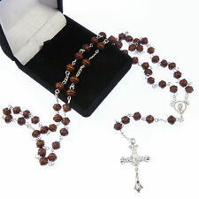 Brown wooden carved rosary in a flock gift box 50cm length wood good for men