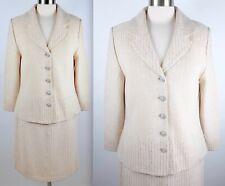 New sz 12 St John 2-piece suit cream embellished skirt jacket