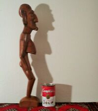 "20"" Easter Island Moai Kavakava wood carved pacific tiki statue vtg rapa nui art"