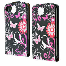 Mobile Phone Leather Skin Card Slot Pocket Case Cover For Apple iphone 4 4G 4S