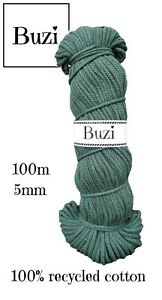 Macramé Cord String 100% Natural Recycled Soft Cotton Yarn 5mm BOTTLE GREEN 100m