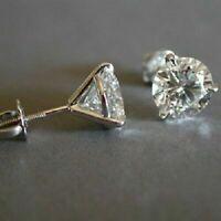 2 Ctw Round Cut VVS1 Moissanite Solitaire Stud Earrings In 14K White Gold Finish