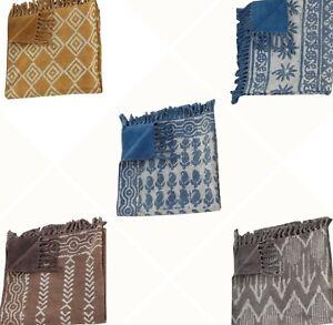 Indian Hand Block Print Carpet Hand Loomed Cotton Kilim Reversible Rug 120X180CM