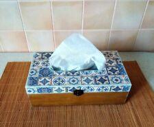 Handmade tissue box cover wood rectangular Blue Spanish Tiles Wooden holder