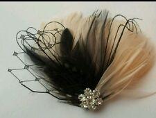 Champagne black Fascinator, Wedding Hair Clip,  Hairpiece, Feather Hair clip