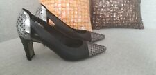 France Mode Shoes Modern Women's  Black And Metallic Leather  Heels