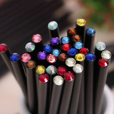 12PCS Black Wood HB Pencil With Colorful Diamond School Writing Pencils Gifts