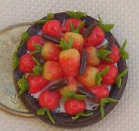 1:12 Scale Strawberry & Chocolate Flan Tart Dolls House Kitchen Dessert Food FL3