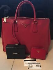 6294b74a3f21 PRADA Fuoco (Red) Saffiano Lux Large Shopping Tote Handbag   Matching Wallet