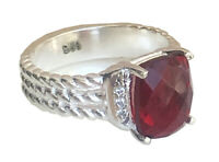 Designer Inspired 10 x 8mm Wheaton Ring with Natural Garnet and Diamond  Size 7