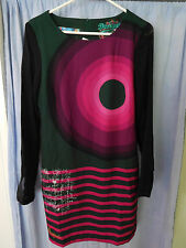 Desigual Long Sleeve Dress Size 38 Green Purple New NWT Geometric Retail $139