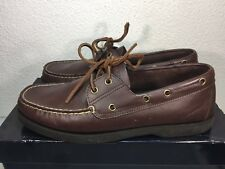Polo Ralph Lauren Sport Jasper Boat Brown Leather Mens Shoes Size 10.5D c429718706a9