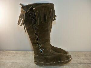 Vintage Men's Moccasins Brown Leather Renaissance Grunge Medieval Boots Size 7.5