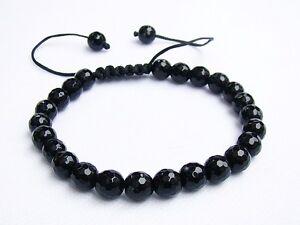 Men's Macrame beaded bracelet all 8mm round Crystal Black Jet beads