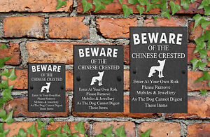 Humorous Beware Of The Dog House Gate Funny Slate Sign 3 Sizes ALL BREEDS  A-C