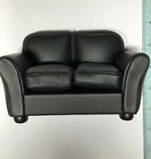 1:12 Town Square Miniature Dollhouse Furniture Black Leather Loveseat Sofa #S