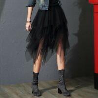 746| Tulle Jupes Femmes Mode Élastique Taille Haute Maille Tutu Jupe Plissée