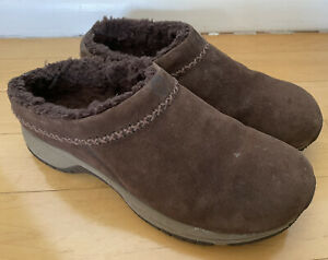 Merrell Fur Sherpa Lined Encore Chill Stitch Chocolate Brown Clogs Shoes Size 9