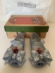 Mini Melissa Ultragirl Frozen Slvr Gltr Bow Shoes Baby Girls Toddler US 5 NEW!!