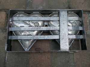 Antique Hinged Chocolate Candy Mold - 2 Hearts