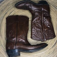 Vintage Red Wing Pecos 9D Mens Pull On Cowboy Boots Brown Leather Goodyear Soles