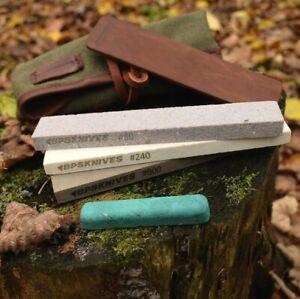 BPS Knives Sharpening Kit 3 stones 80 240 800 leather strop compound nylon case