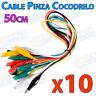 10x Cables 50cm con PINZAS COCODRILO varios colores aislado clip test