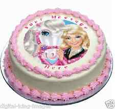 Barbie Horse Cake topper edible image icing Birthday Party   REAL FONDANT (580)