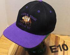 LINCOLN STAGE LINCOLN MONTANA HAT BLACK AND PURPLE STRAPBACK ADJUSTABLE VGC E10