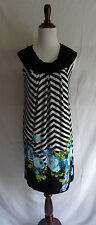 Carole Little 6 Black & White Chevron Stripe Artsy Flower Jersey Shift Dress