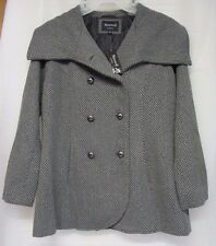 Maxwell Studio Women's Tulip Faux Wool Double-Breasted Peacoat Size L NEW