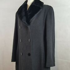 Womens Luxurious Winter Coat Dark Grey UK 14 Wool Cashmere Fur Double Breasted