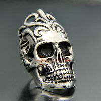 Men's 316L Stainless Steel Large Skull Lord Biker Rock Ring Punk Gothic Jewelry