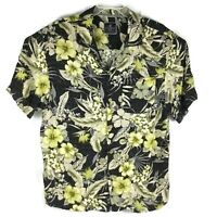 Caribbean Joe Hawaiian Shirt Floral Tropical Hibiscus Black Green Mens Sz Medium