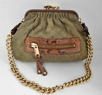 Marc Jacobs Moss Green Reptile Quilted Leather Little Stam Chain Shoulder Bag