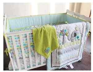 7PCS Boy Baby Bedding Set Elephants Nursery Quilt Bumper Sheet Crib/Cot Skirt