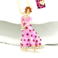 Betsey Johnson Enamel Crystal Elegant Lady Pendant Sweater Necklace/Brooch Pin